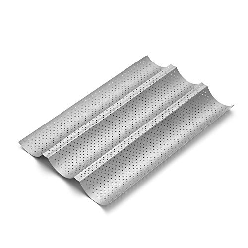 S·KITCHN Baguette Pan, French Bread Pan, Perforated Baguette Pan, Nonstick Perforated Italian Loaf Pan, Nonstick French Bread Pan, 3 Wave Nonstick Baguette Tray, 14.96 x 9.5 IN - 1 Pack