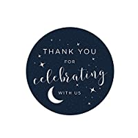 Andaz Press Love You to the Moon and Back Wedding Collection, Round Circle Label Stickers, Thank You for Celebrating With Us, 40-Pack, Space Galaxy Themed Baby Shower Party Decor