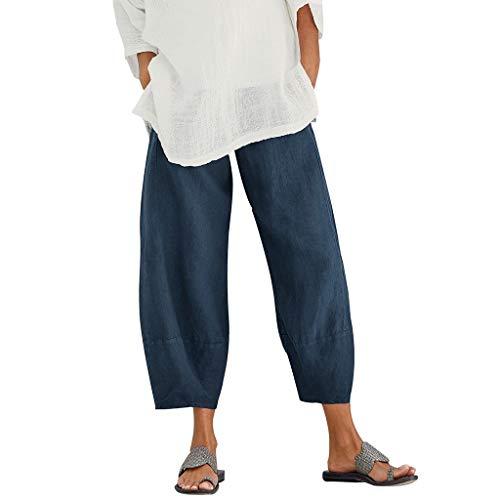 Luckycat Pantalones De Lino para Mujer Pantalón De Verano con Cintura De Bolsa De Papel De Moda Pantalones Mujer Elegante Y Casual de Mujer Pantalones de Lino pantalón Pantalones Corte Holgado