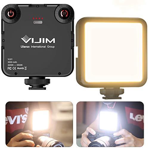 Video Licht LED Videolicht VL81 Zweifarbiges Kameralicht mit Softbox 3000 mAh Wiederaufladbares 3200K - 5600K LED Licht für Kamera mit 3 Cold Shoe