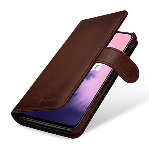 StilGut Hülle geeignet für OnePlus 7 Lederhülle Brieftasche mit Karten-Fächern, braun antik