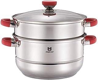 XIN Cocina Olla Vapor Vaporera Nivel 2 Vapor Conjunto de la Cacerola de Acero Inoxidable Espesar cocinar al Vapor Pot Placa de inducción General de los Gases de la Olla 26cm (Color : Red)