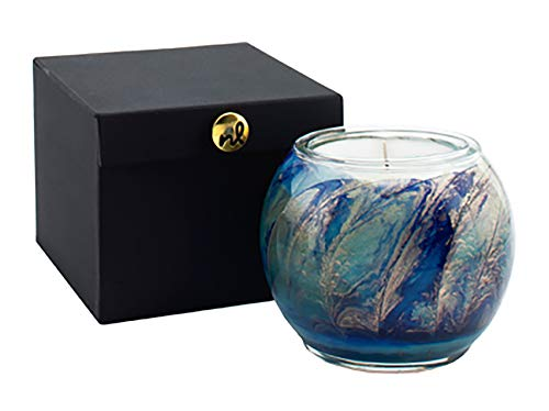 NORTHERN LIGHTS Esque Nouveau Globe - Handblown Bubble Glass vessel – Blue-Golden Hue Glass Candle-Handpainted Candle, Handmade Candle - 4 inch - Cucumber & Lily
