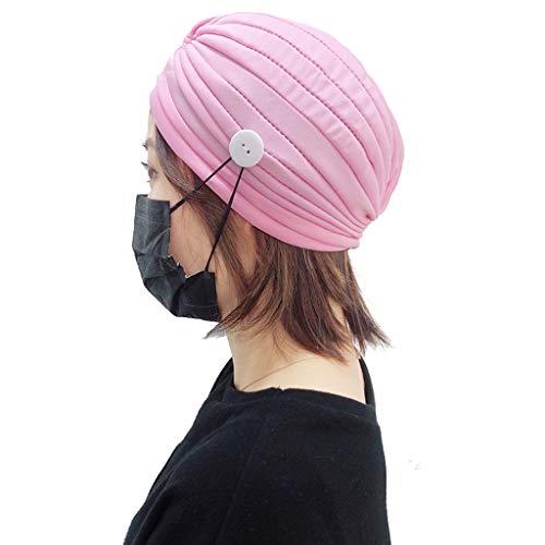 fasloyu Turban Hut mit Knöpfen für Maske Halter, bodenbeschmutzte Farbe Rüschen Kopf Wrap Hut für den Schutz Ohren, afrikanische Frauen Magie Kopftuch, Mode Kopfbedeckung Geschenke für Frauen