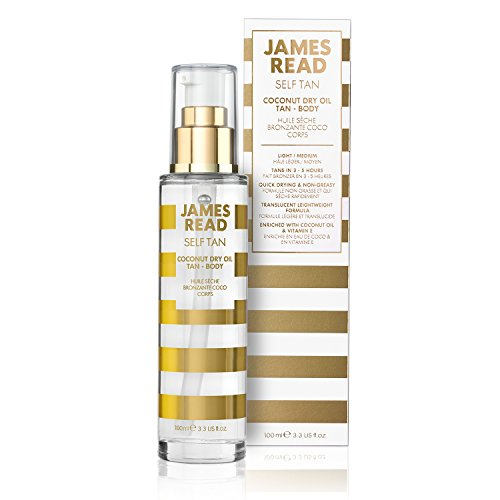 JAMES READ Coconut Dry Oil Tanner Body 100 ml Self-tanner with gradual tanning effect for natural full-body tan, long-lasting tan, develops overnight, for all skin tones