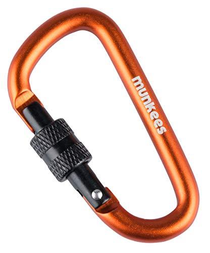 munkees Karabiner-Haken D-Form Schraubverschluss Schlüsselanhänger, Ø 6 x 60 mm, Orange, 32463