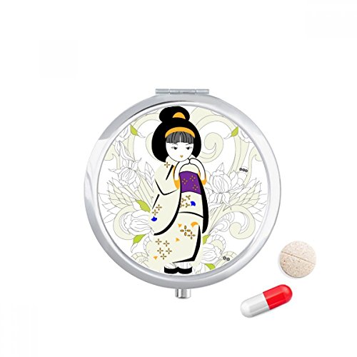 DIYthinker Japan Kimono Meisje Patroon Reizen Pocket Pill case Medicine Drug Opbergdoos Dispenser Spiegel Gift