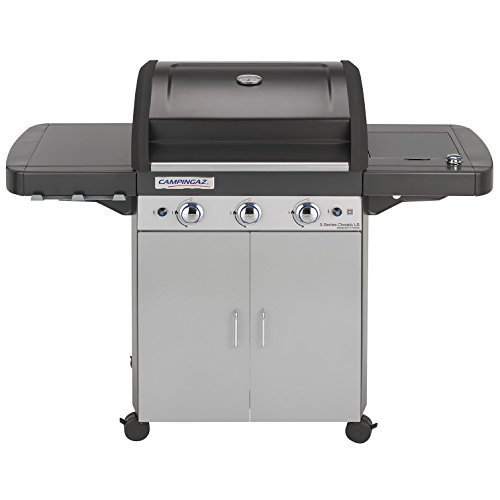 Campingaz Gas BBQ 3 Series Classic LS, 3+1 Burner Stainless Steel Gas Barbecue, Large Gas Grill with Side Burner, Stamped Steel Grid & Griddle