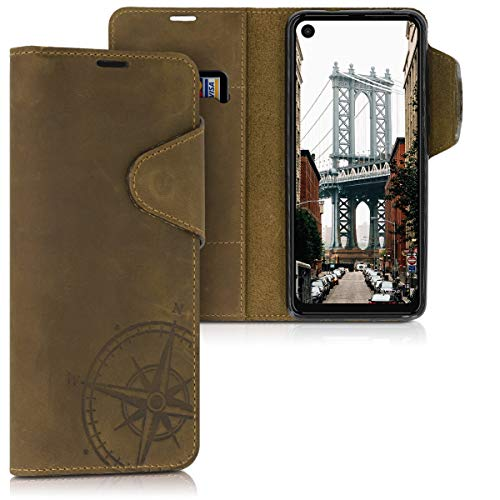 kalibri Hülle kompatibel mit Motorola One Vision - Leder Handyhülle - Handy Wallet Case Cover Kompass Vintage Braun