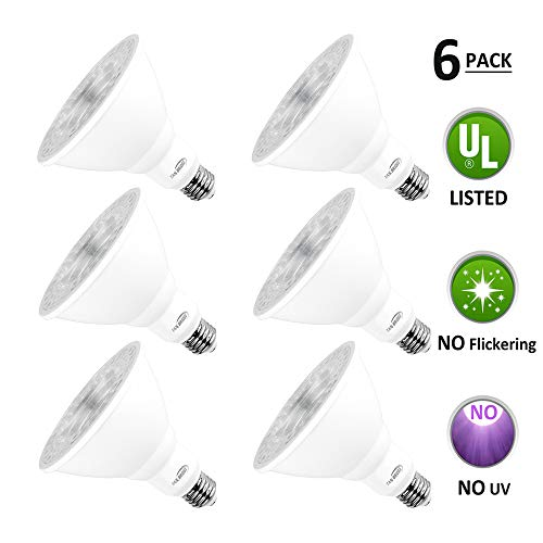Par38 Led Light Bulbs 5000k Natural Daylight Dimmable, E26 Led Bulb Base 18w (180watt Equivalent) Recessed Lighting, Outdoor Led Flood Light Bulbs Indoor, Energy Saving Light Bulbs Efficient (6 Pack)