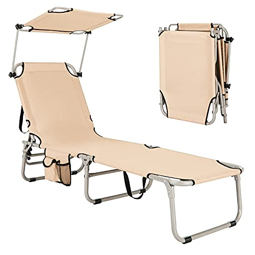 GYMAX Folding Chaise Longue, Adjustable Beach Chair with Canopy Sun Shade & Side Pockets, Heavy Duty Sunbathing Recliner Cot for Outdoor Patio Yard Poolside (1, Beige)