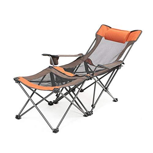 WYY Liegestuhl Campingstuhl Camping Recliner Lounge Chair, Klappstuhl mit Kopfstütze und Aufbewahrungstasche, für Camping Im Freien, 330 Lbs Gewicht Kapazität Klappbar Liegestuhl (Color : Orange)