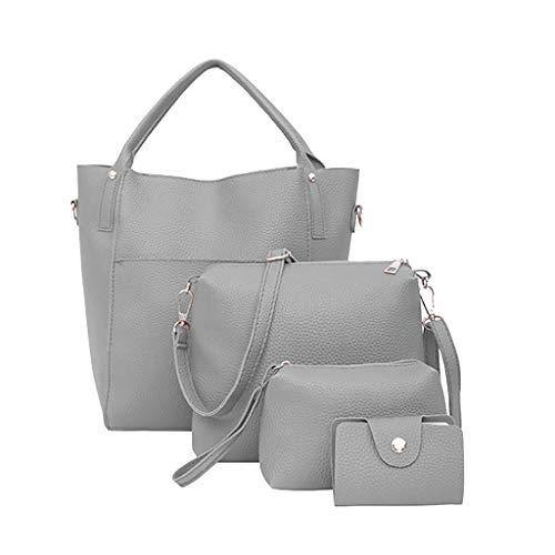 FOANA Damen Handtaschen Schultertasche Geldbörse Kartenhalter Tasche Damen Umhängetasche Canvas Umhängetasche Handtasche in Kontrastfarbe (Grau 7, 1)