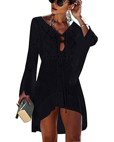 Walant Femmes Robe de Plage Manches Évasées Maillot de Bain Sexy Tricot ajouré au Crochet Taille Tunique Cache-Maillots Bikini Poncho Blouse Été Cover Up, Noir, Taille unique