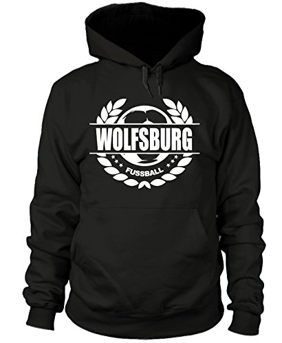 shirtloge - Wolfsburg - Fussball Lorbeerkranz - Fan Kapuzenpullover - Schwarz - Größe XL