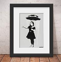 Quadro Decorativo Banksy Umbrella Girl Vidro Anti-Reflexo & Paspatur 46x56cm Qt16