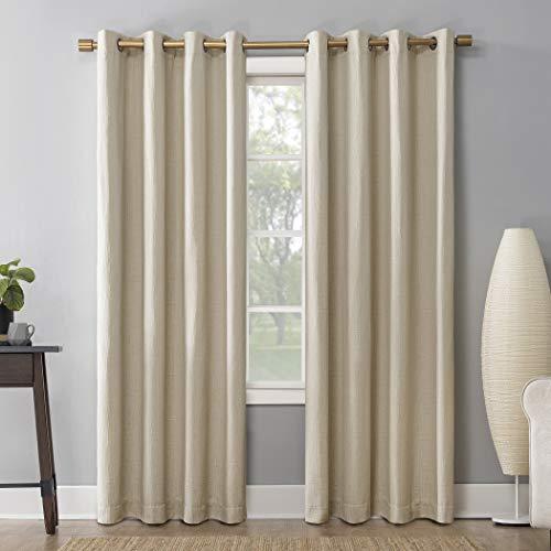 "Sun Zero 55862 Patina Crosshatch Jacquard Thermal Extreme 100% Blackout Grommet Curtain Panel, 52"" x 63"", Cream"