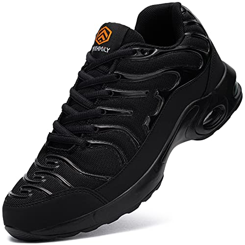 DYKHMILY Air Cushion Steel Toe Shoes for Men Lightweight Breathable Safety Toe Tennis Shoes Slip Resistant Puncture Proof Work Shoes(11,Black,D91825)