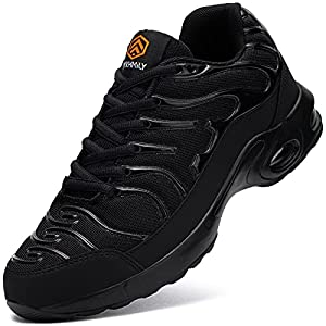 DYKHMILY Air Cushion Steel Toe Shoes for Men Lightweight Breathable Safety Toe Tennis Shoes Slip Resistant Puncture Proof Work Shoes(8,Black,D91825)