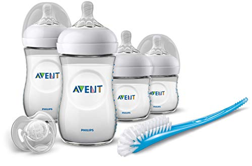 Philips Avent Scd301/01 - Set De Recién Nacido Gama Natural, 4 Biberones, Chupete Y Escobilla Color Transparente