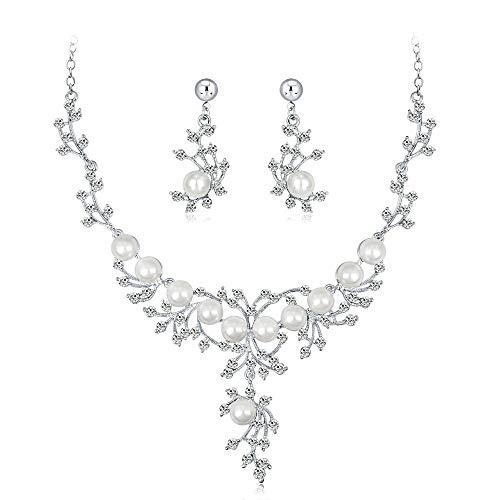 JIAGU Schmuck-Sets Persönlichkeit Frauen Kristall Creme Simulierte Perle Braut Blumenblatt Halskette Ohrringe Set Klar Silber-Ton (Color : White, Size : Free Size)