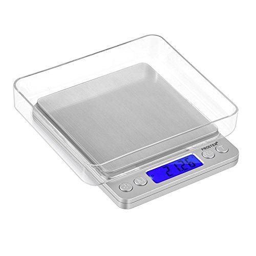 Proster Mini Escala Digital de Bolsillo 0.01-500g Escala Postal de Alta Precisión para Alimento de la Cocina, Pesar Gemas, Joyas y Otros Objetos Preciosos - Color Plata