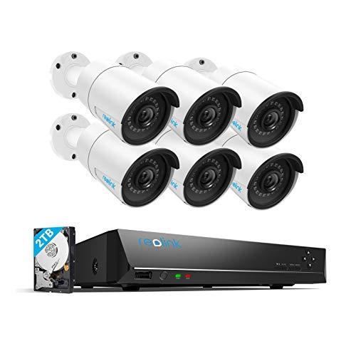Reolink 5MP 8CH PoE Kit de Cámara de Vigilancia, 6X Cámaras IP Seguridad PoE Exterior, 8CH NVR con 2TB HDD para Grabación Continua 24/7, IP66 Impermeable Visión Nocturna Audio, RLK8-410B6-5MP