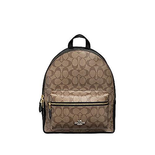 Coach Medium Charlie Backpack Daypack Shoulder Bag in Signature Canvas F32200 (IM/KHAKI/BLACK)