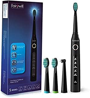 Electric Toothbrush Clean as Dentist Rechargeable Sonic Toothbrush with Smart Timer 4 Hours Charge Minimum 30 Days Use 5 Optional Modes Travel Toothbrush with 3 Brush Heads Black by Fairywill