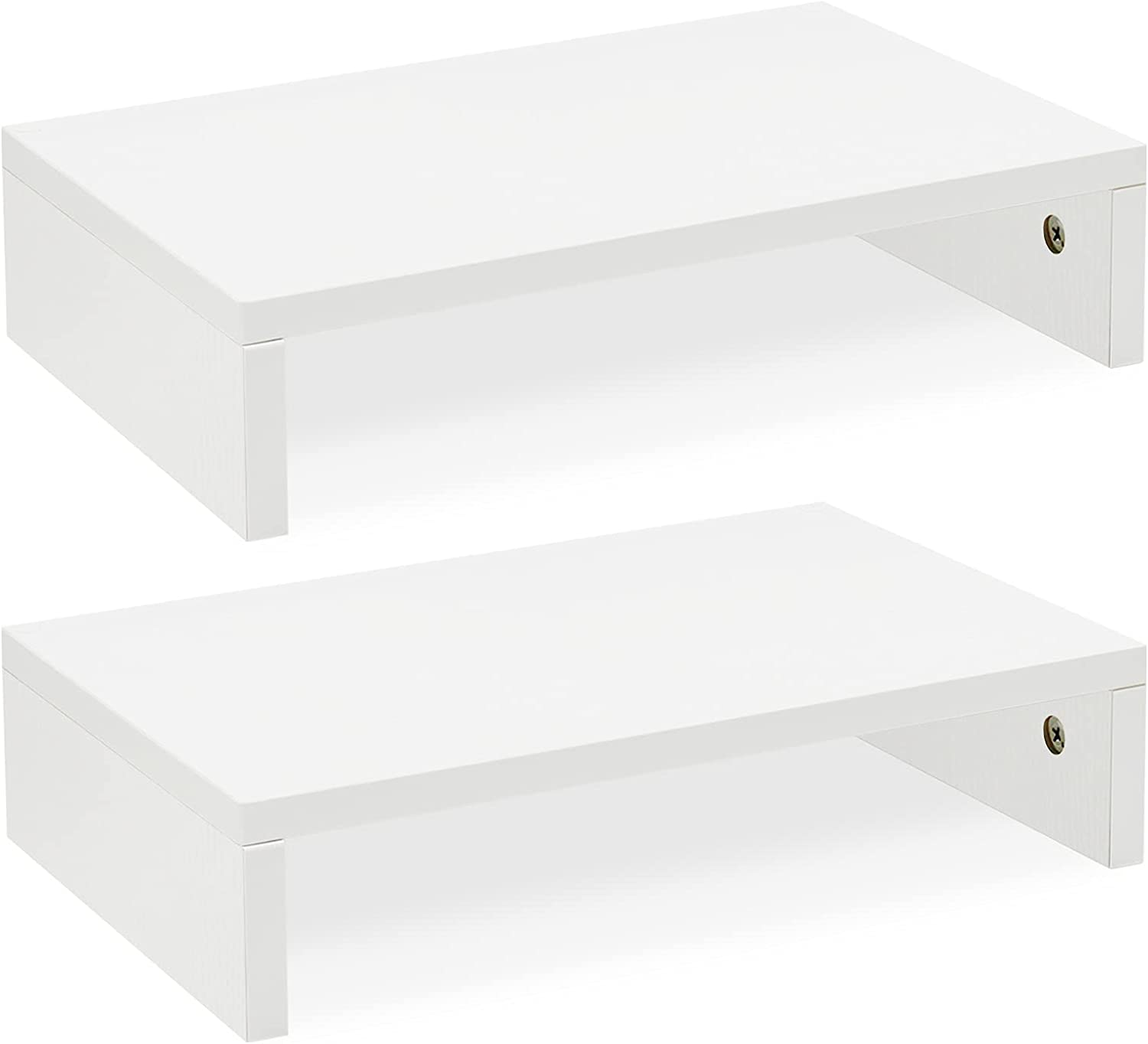 White Monitor Stand Riser-2 Pack,Wood Adjustable Monitor Stand Dual Monitor Riser for 2 Monitors/Laptop/PC Computer Stand for Desk by TEAMIX