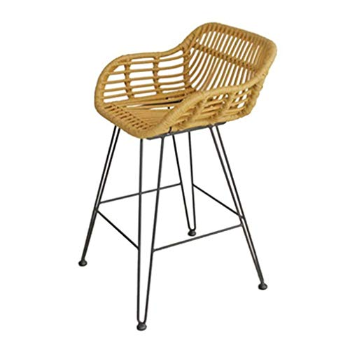 Bar Stools Rattan Bar Chair Breakfast Kitchen Counter Chairs Dining Chair High Stool for Gardens, Taverns and Outdoor Gardens Seat Height 65cm,1 piece