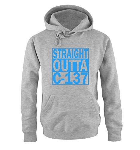 Preisvergleich Produktbild Just Style It - Straight Outta C-137 - Rick and Morty - Herren Hoodie - Grau / Blau Gr. 3XL