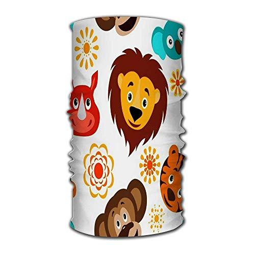 Unisex dibujos animados divertidos animales salvajes cabeza infantil león rinoceronte koala tigre y sol Bac sombrero de secado rápidoDiadema de bandana mágica al aire libre