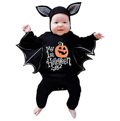 TMOYJPX Halloween Disfraz Bebe 3-24 meses Otoño Murciélago Mameluco - Peleles + Sombrero, Disfraces Mono Ropa Recién Nacido Niño Niña Invierno Fotos (C#Calabaza, 12-18 meses)
