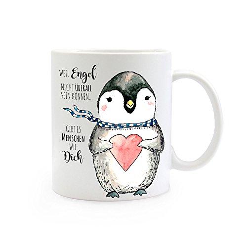 ilka parey wandtattoo-welt® Tasse Becher Kaffeetasse Kaffeebecher Pinguin mit Spruch Engel Menschen wie Dich ts368
