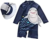 Baby Toddler one Piece Sunsuits with Sun hat Kids Zipper Bathing Suit Swimwear Infant UPF 50+ Rash Guard Surfing Suit (Gray Shark, 3-6 Months)