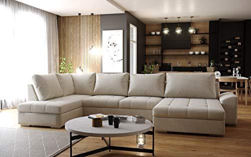 Sofá esquinero panorámico convertible Casa en U, tejido beige moderno y diseño (ángulo izquierdo)