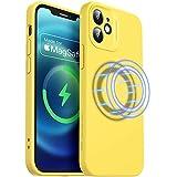 ESR Cloud Weiche Hülle mit MagSafe Kompatibel mit iPhone 12 Mini 2020 5,4 Zoll Silikon Hülle mit Pro Kameraschutz, Gelb