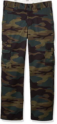 Dickies Men's Regular Straight Stretch Twill Cargo Pant, Hunter Green Camo, 36 34