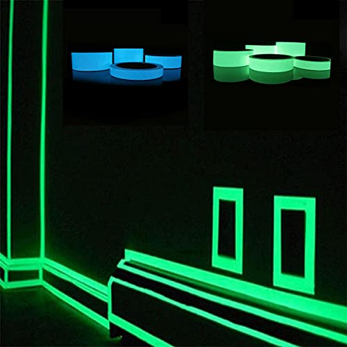 Familia tira luminosa etiqueta de la pared calcomanías murales extraíbles vinilo arte decoración de la habitación, bricolaje fluorescente piso auto adhesivo que brilla en la oscuridad cinta (verde)
