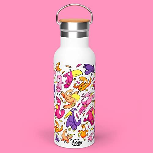 Tootoons - Botella de metal isotérmica con diseño de cartoon y pájaros, 500 ml, tapón de bambú