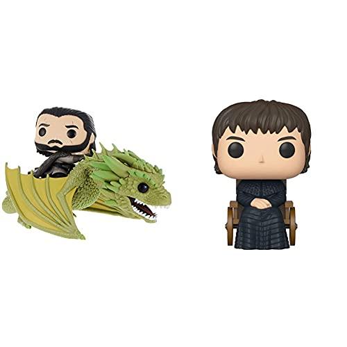 Funko Pop Rides Game Of Thrones-Jon Snow W/Rhaegal Figura Da Collezione, Multicolore, 44448 & - Pop Tv: Game Of Thrones-King Bran The Broken Collectible Figure, Multicolore, 45429