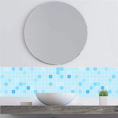 KINLO Mosaik Folie 60 x 500 cm Klebefolie Selbstklebende Mosaikflisen Fliesenfolie Spritzschutz Folie Oberflächenschutz für Badzimmer Küche Möbel Wasserdicht -Blau
