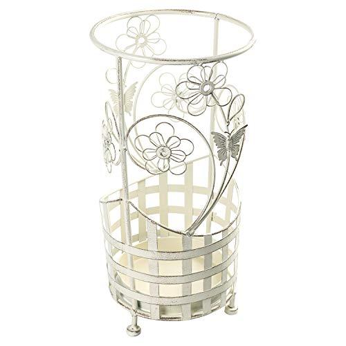 Maribelle - Runder Wanderstock- und Schirmständer - Florales Design - Metall - Weiß mit Antik-Finish