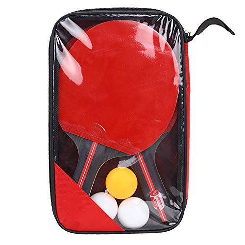 Huahua Sets De Ping Pong,Table Tennis Set,CóModo Mango con Esponja De Alta Elasticidad Goma De Doble Cara,2 Raquetas De Ping Pong 3 Pelotas 1 Bolsa,para Actividades Al Aire Libre En Interiores