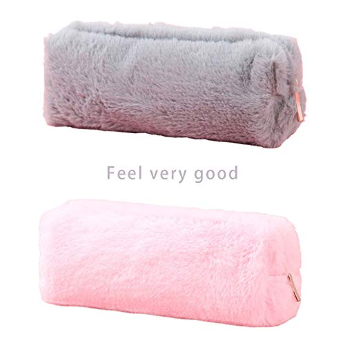Huture Nature Environment Cute Fluff Pencil Case Box Pouch Houlder Stationery Storage Bag Makeup Brush School Gift 2 Pockets Decor for Women Ladies Teen Girls Students Officer, Pink/Grey