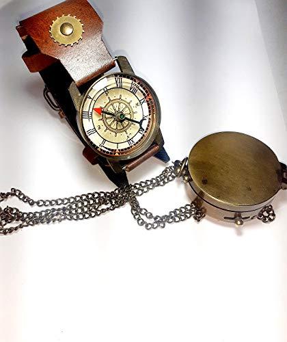 2 pic Nautical ottone meridiana bussola vintage orologio da polso fatto a mano regalo schiuma orologio