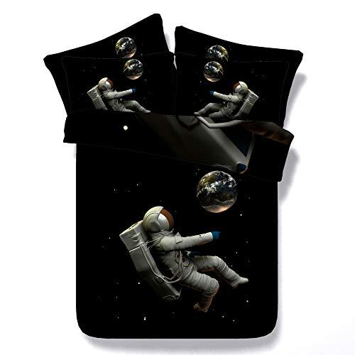 Housse De Couette Taie D'oreiller Literie 3D Numérique Quilt Case Literie Chambre Chambre Méridienne Textile,Astronaut-King(260 * 225cm+50 * 70cm*2)