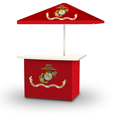 Best of Times 2001W1341 US Marines Portable Bar and 8 ft Tall Square Umbrella, Water Resistant, UV Protected, Interchangeable Fabric Cover, One Size, Red
