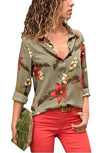 Avanon Langarmshirts Damen Herbst Bluse Blumenmuster Shirts Mit Knöpfe V-Ausschnitt Langarm Hemd Shirt Tank Tops (Grün, S)